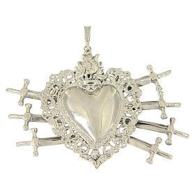 Ciondolo cuore votivo con sette spade e traforato argento 925 s1