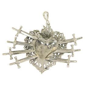 Ciondolo cuore votivo con sette spade e traforato argento 925 s2