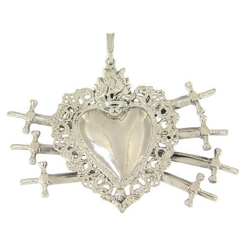 Ciondolo cuore votivo con sette spade e traforato argento 925 1