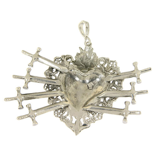 Ciondolo cuore votivo con sette spade e traforato argento 925 2