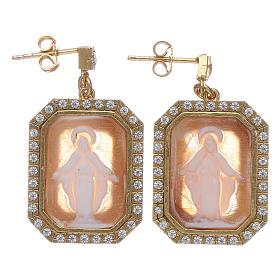 Orecchini argento 925 finitura color oro zirconi bianchi e cammeo s1