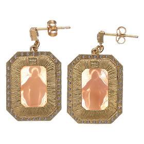 Orecchini argento 925 finitura color oro zirconi bianchi e cammeo s2