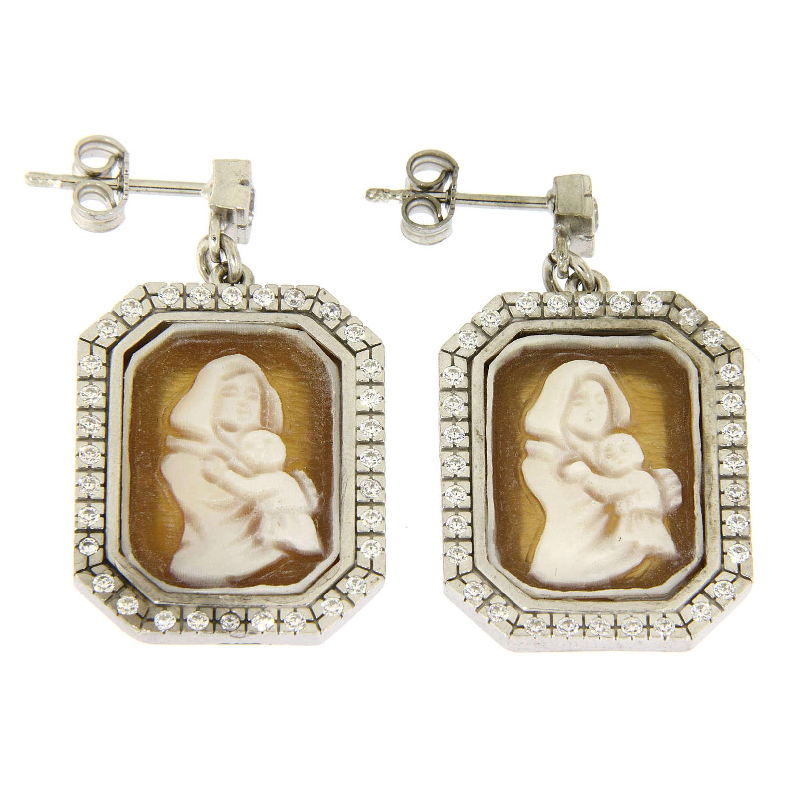 Orecchini argento 925 con zirconi bianchi e cammeo 4