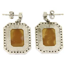 Orecchini argento 925 con zirconi bianchi e cammeo s2