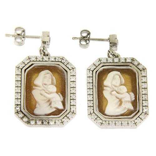 Orecchini argento 925 con zirconi bianchi e cammeo 1
