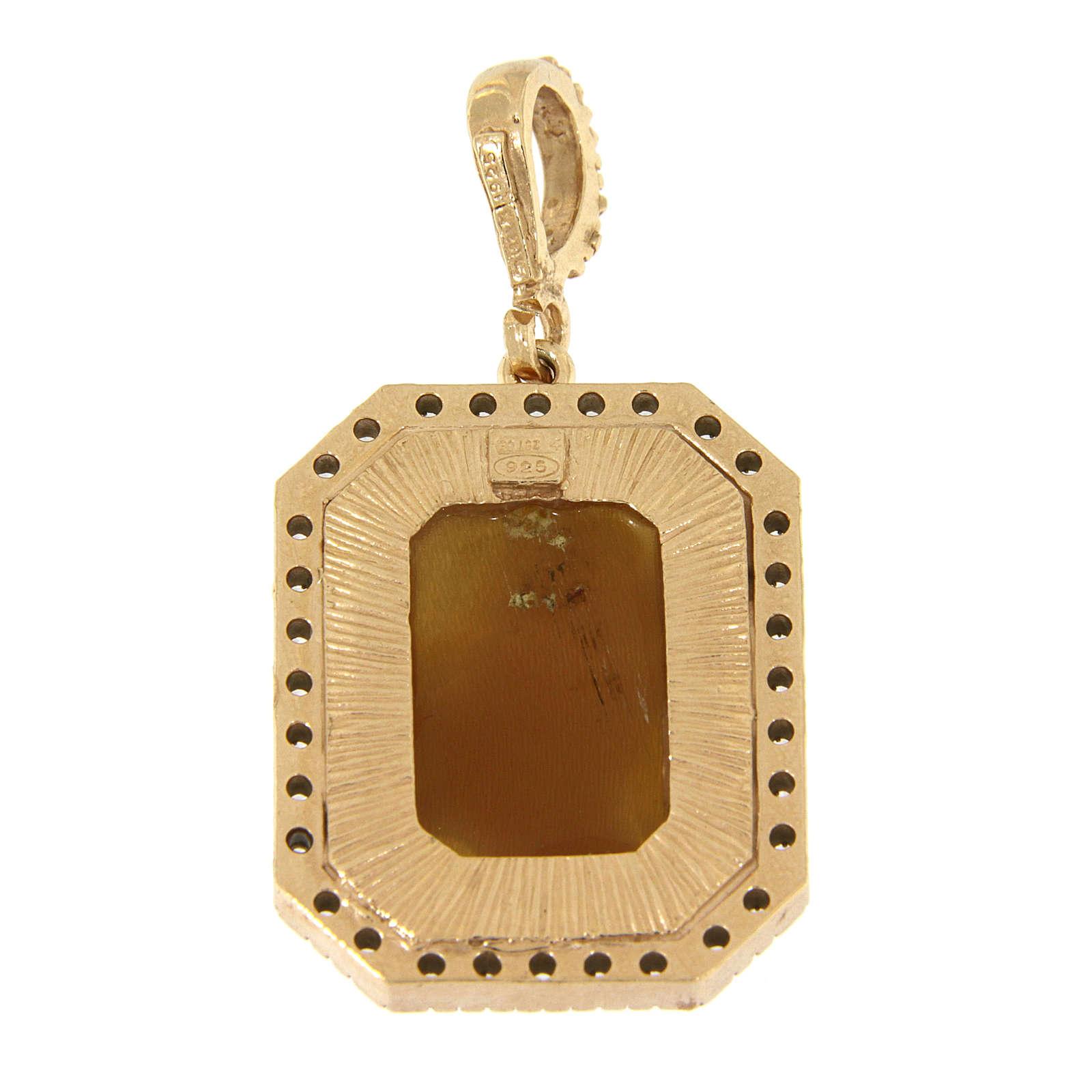 Ciondolo Madonna di Ferruzzi in cammeo e zirconi bianchi argento 925 4