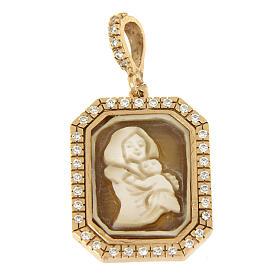 Ciondolo Madonna di Ferruzzi in cammeo e zirconi bianchi argento 925 s1