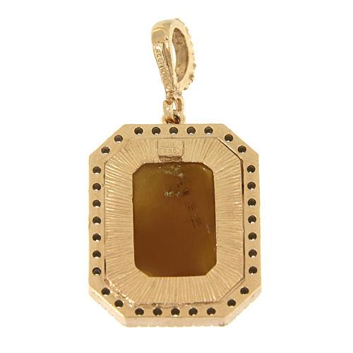 Ciondolo Madonna di Ferruzzi in cammeo e zirconi bianchi argento 925 2