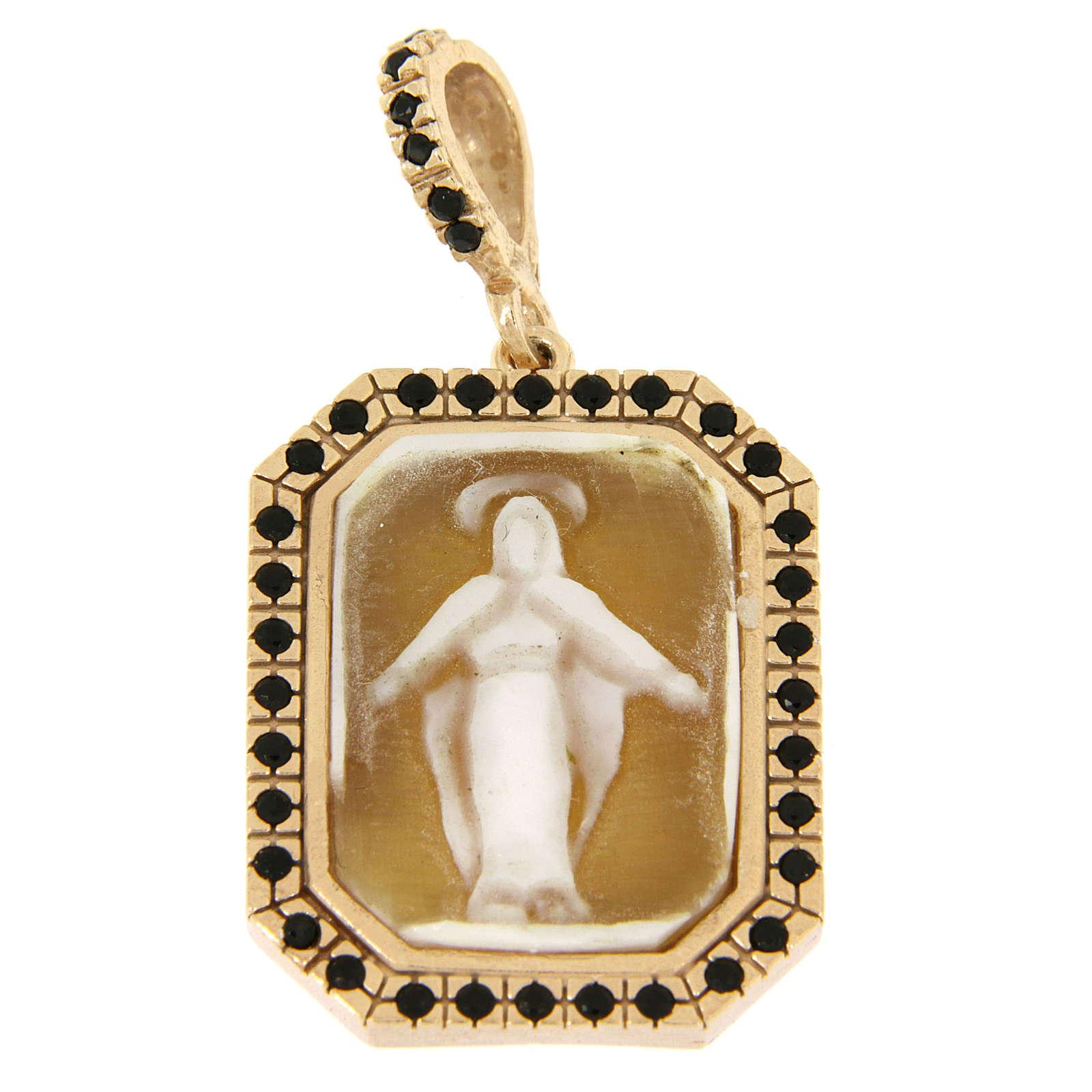 Ciondolo in argento 925 Madonna Miracolata in cammeo e zirconi neri 4