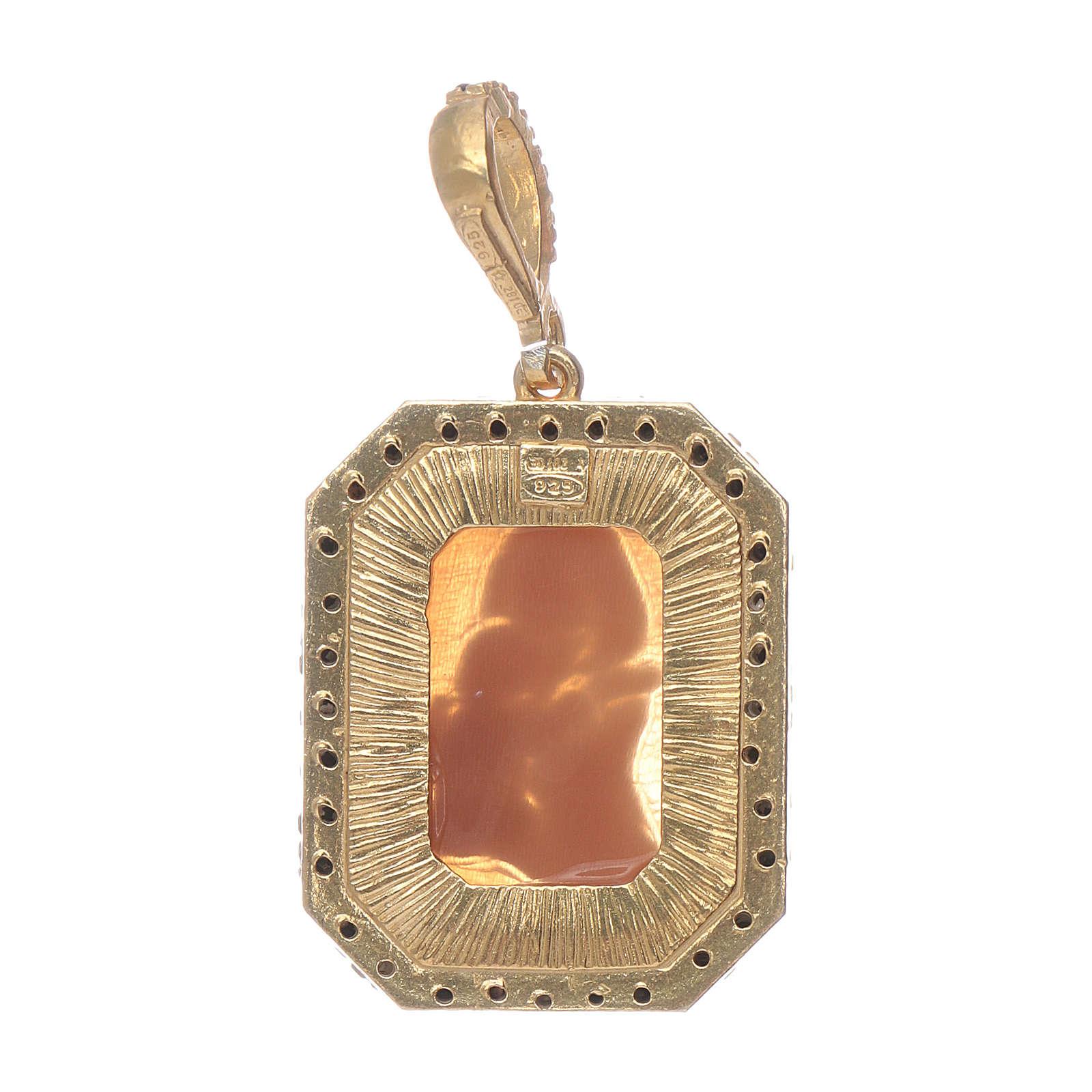 Ciondolo in argento 925 Madonna di Ferruzzi in cammeo zirconi neri e finitura color oro 4