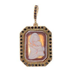 Ciondolo in argento 925 Madonna di Ferruzzi in cammeo zirconi neri e finitura color oro s1
