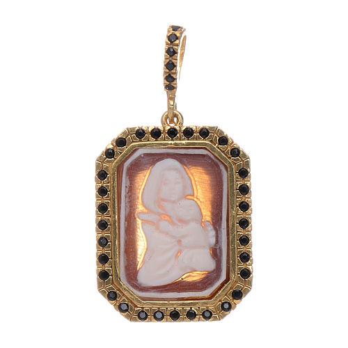 Ciondolo in argento 925 Madonna di Ferruzzi in cammeo zirconi neri e finitura color oro 1