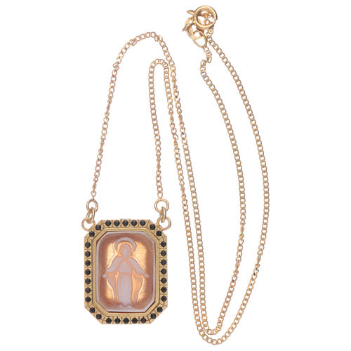 Gargantilla de plata 925 con Virgen Milagrosa en camafeo y zircones negros 3