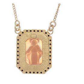 Tour de cou en argent 925 avec Vierge Miraculeuse en camée et zircons noirs s2