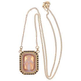 Tour de cou en argent 925 avec Vierge Miraculeuse en camée et zircons noirs s3