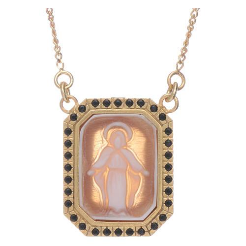 Tour de cou en argent 925 avec Vierge Miraculeuse en camée et zircons noirs 1