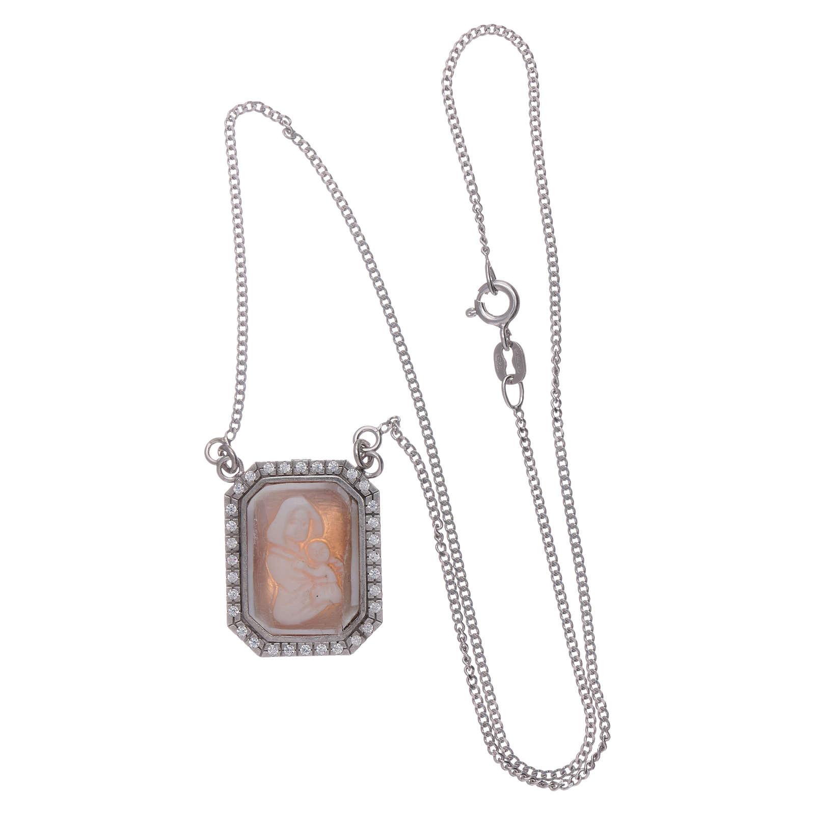 Girocollo in argento 925 con Madonna di Ferruzzi in cammeo e zirconi bianchi 4