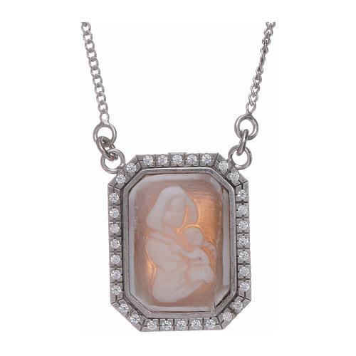 Girocollo in argento 925 con Madonna di Ferruzzi in cammeo e zirconi bianchi 1