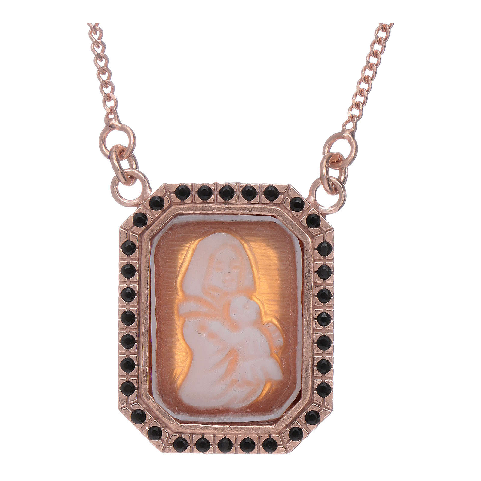 Girocollo in argento 925 con Madonna di Ferruzzi in cammeo e zirconi neri finitura rosé 4