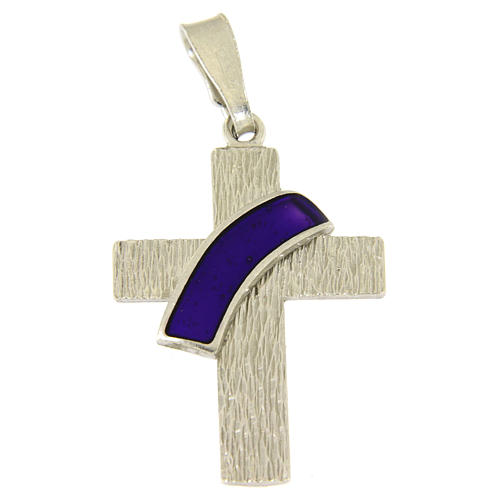 Ciondolo croce diaconale in argento 925 e dettaglio viola 1