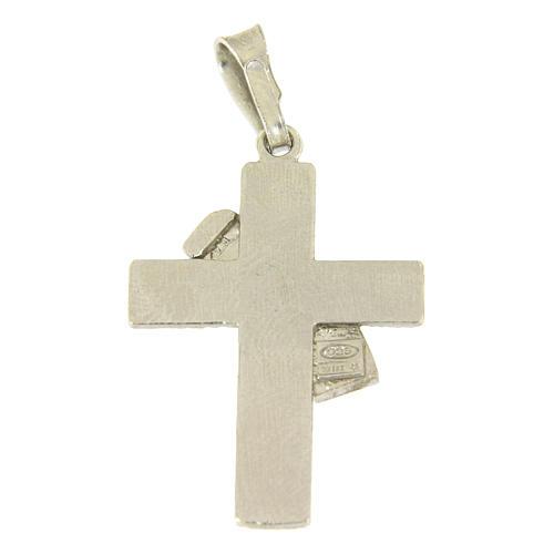 Ciondolo croce diaconale in argento 925 e dettaglio viola 2