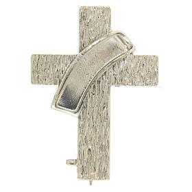 Deacon cross lapel pin in 925 silver s1