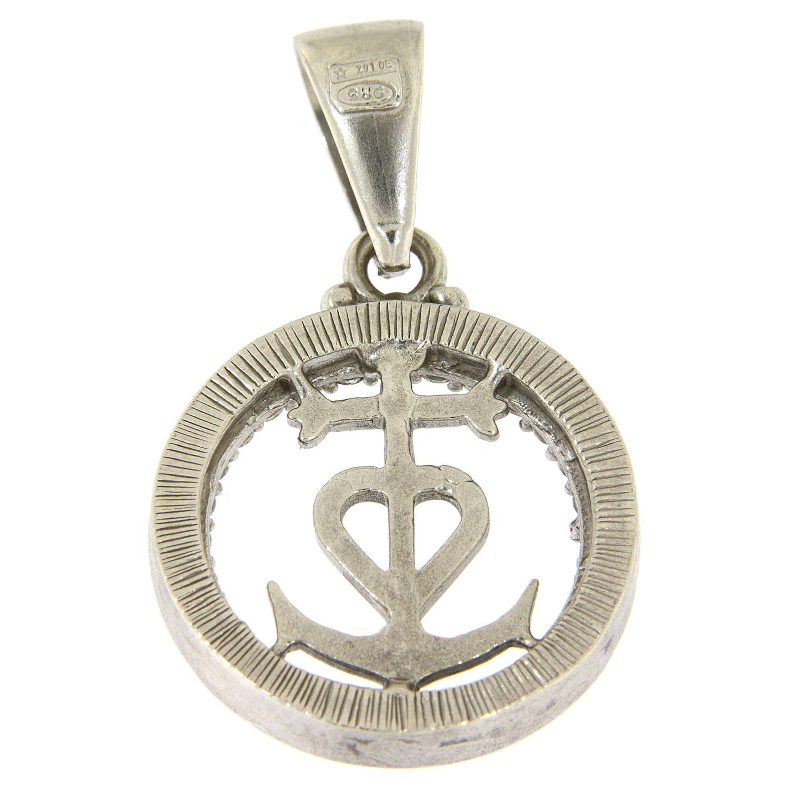 Medaglietta in argento 925 e zirconi simbolo fede speranza e carità 4