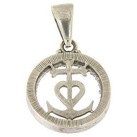 Medaglietta in argento 925 e zirconi simbolo fede speranza e carità s2