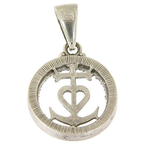 Medaglietta in argento 925 e zirconi simbolo fede speranza e carità 2