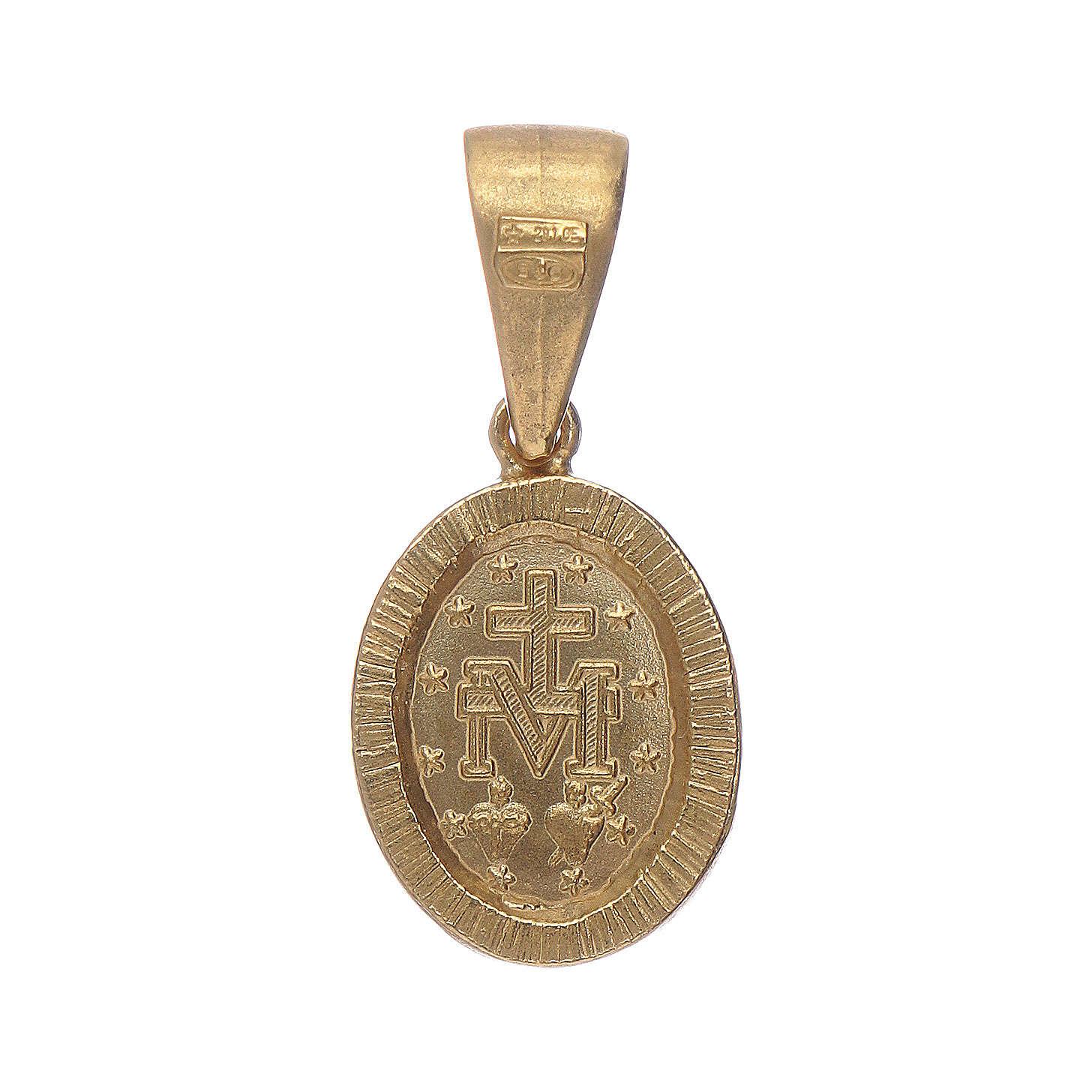 Pendentif Médaille Miraculeuse argent 925 couleur or et zircons blancs 4