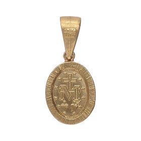 Pendentif Médaille Miraculeuse argent 925 couleur or et zircons blancs s2
