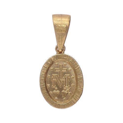 Pendentif Médaille Miraculeuse argent 925 couleur or et zircons blancs 2