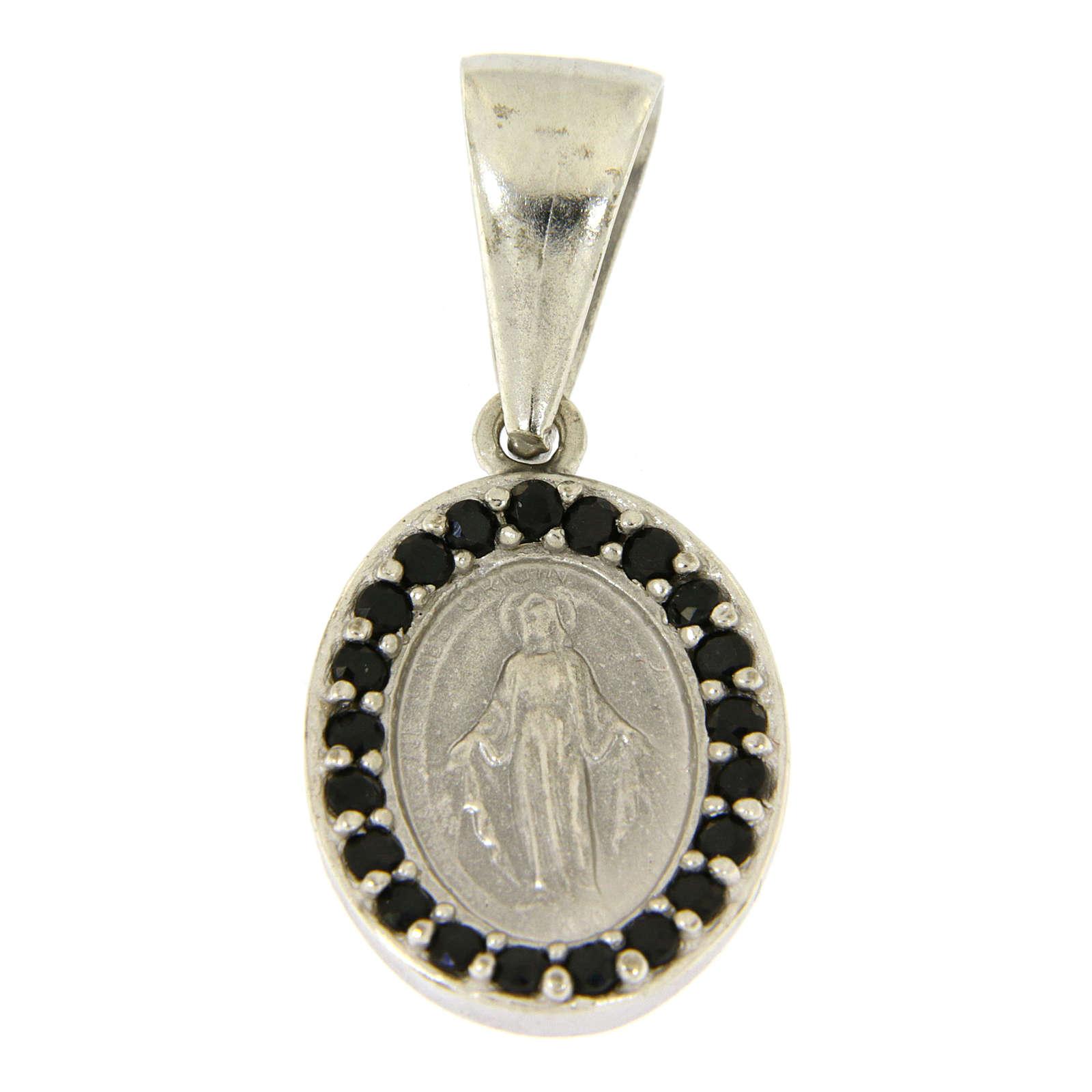Ciondolo Madonna Miracolosa argento 925 zirconi neri 4