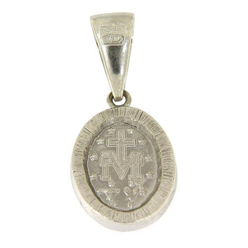 Ciondolo Madonna Miracolosa argento 925 zirconi neri 2