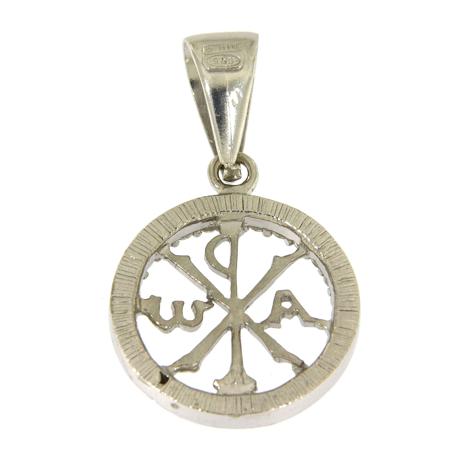 925 sterling silver medal with white zircons and Pax symbol 4