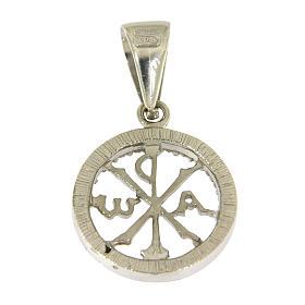Medaglietta in argento 925 zirconi bianchi e simbolo Pax s2