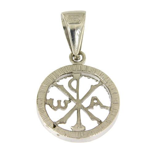 Medaglietta in argento 925 zirconi bianchi e simbolo Pax 2