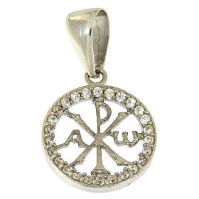 Pendants, crosses and pins: 925 sterling silver medal with white zircons and Pax symbol