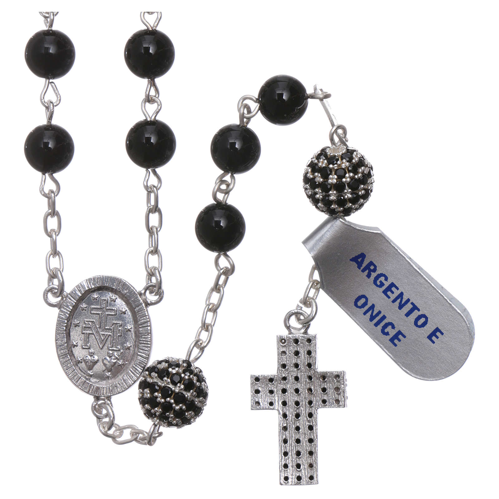 Rosary in 925 sterling silver decorated with zircons with 6 mm onyx beads, a medal and a pater 4