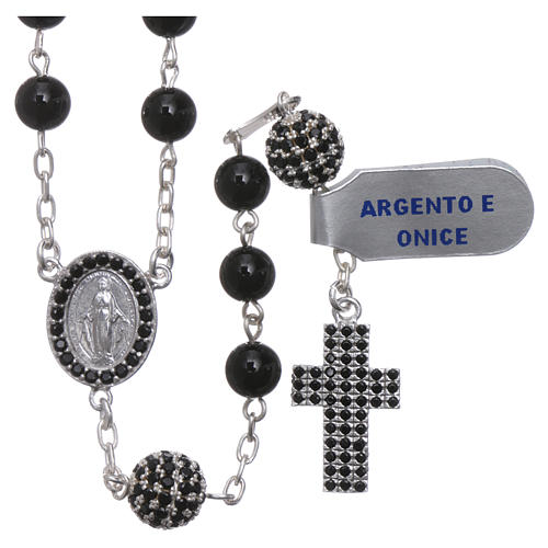 Rosary in 925 sterling silver decorated with zircons with 6 mm onyx beads, a medal and a pater 1