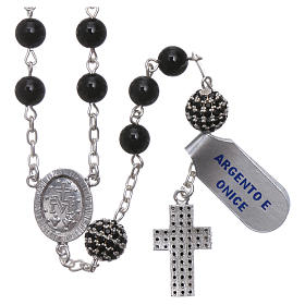Rosary in 925 sterling silver decorated with zircons with 6 mm onyx beads, a medal and a pater s2