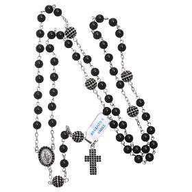 Rosary in 925 sterling silver decorated with zircons with 6 mm onyx beads, a medal and a pater s4