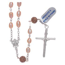 Rosario perle fiume 4 mm ovali con pater argento 925 color rosé s2
