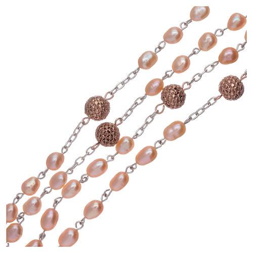 Rosario perle fiume 4 mm ovali con pater argento 925 color rosé 3
