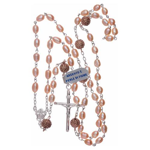 Rosario perle fiume 4 mm ovali con pater argento 925 color rosé 4