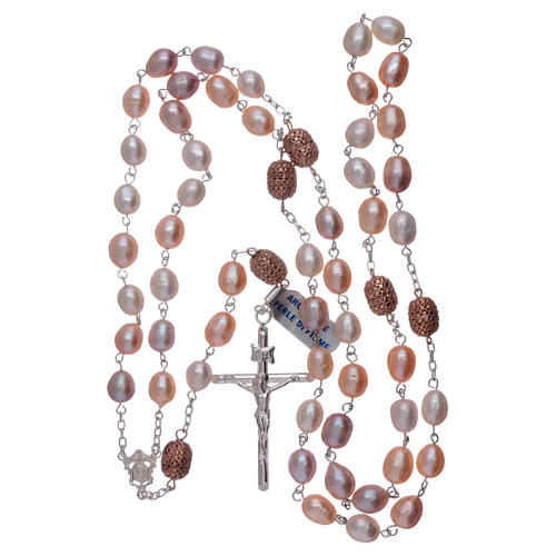 Rosario argento 925 perle fiume 7 mm ovali pater color rosé 7 mm 4