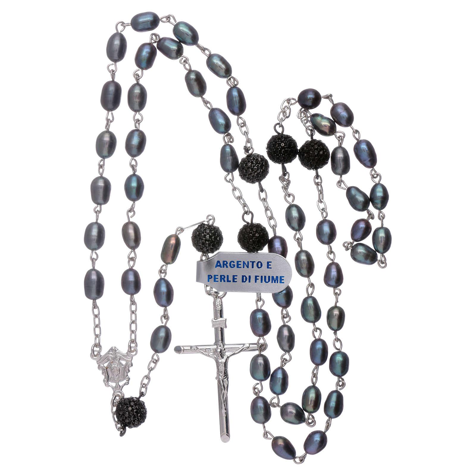 Rosario perle fiume barocche 4 mm ovali con pater argento 925 4