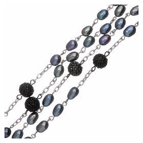 Rosario perle fiume barocche 4 mm ovali con pater argento 925 s3