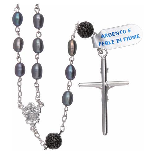 Rosario perle fiume barocche 4 mm ovali con pater argento 925 2