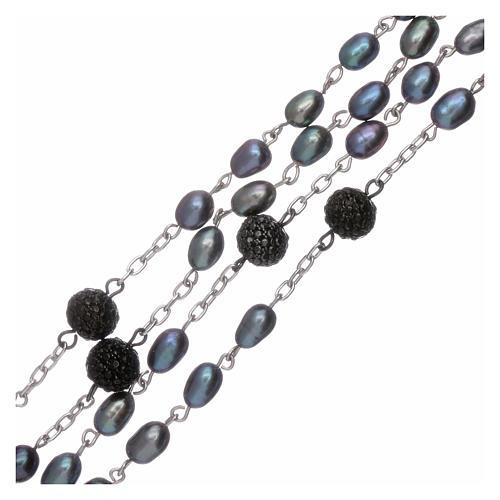 Rosario perle fiume barocche 4 mm ovali con pater argento 925 3